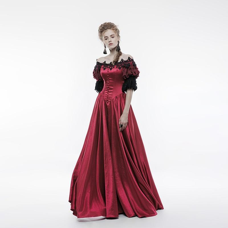Women's Gothic Vintage Off Shoulder Bubble Sleeve Long Dress Red-Punk Design