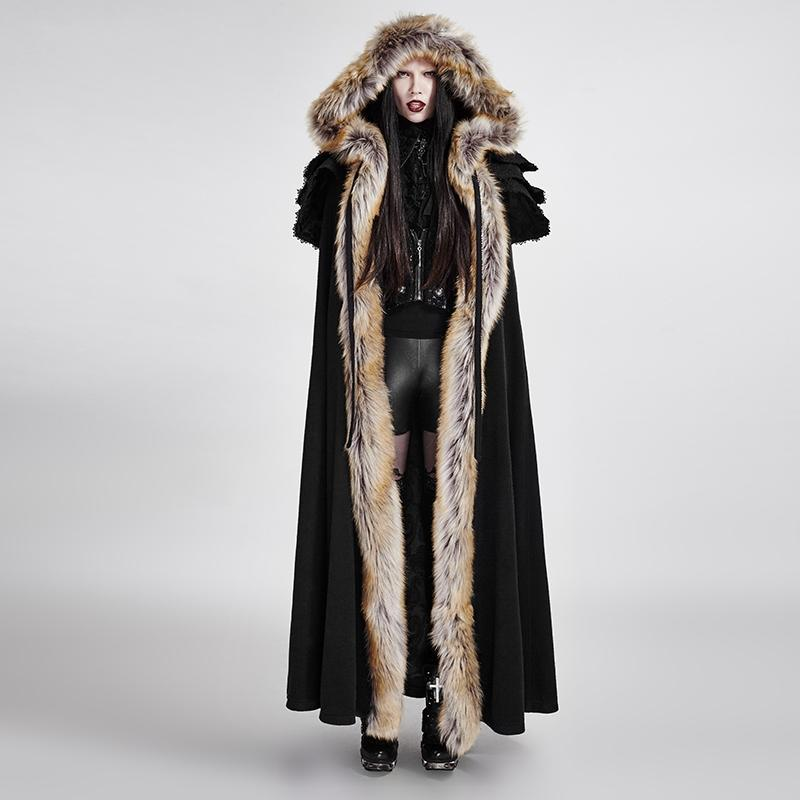 Women's Gothic Woolen Hooded Maxi Coat-Punk Design