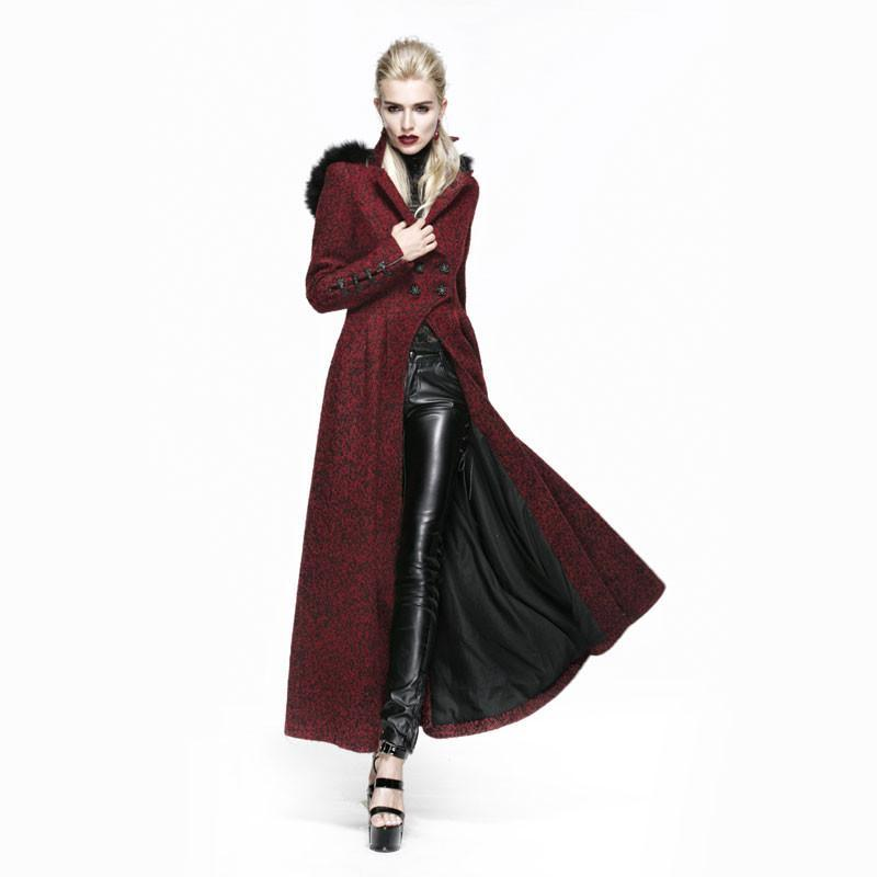Women's Gothic Woolen Hooded Victorian Maxi Coat Red-Punk Design