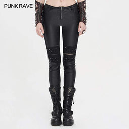 Punk Rave Women's Grunge Hollow Out Rivets Fitted Pants