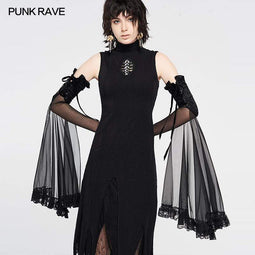 Punk Rave Women's Grunge Lace Ruffles Long Gloves
