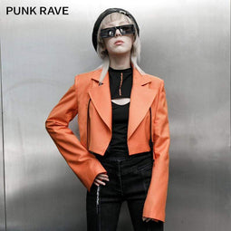 Punk Rave Damen Grunge Large Revers Release Buckle Jacken Orange