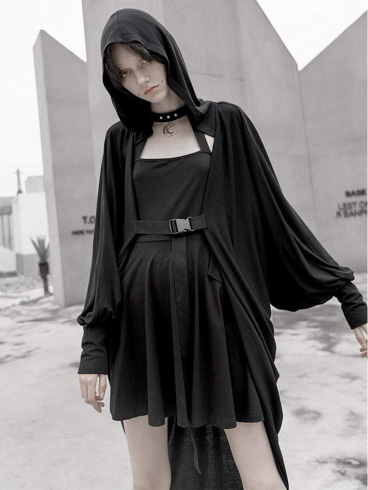 PUNK RAVE Women's Grunge Moon Printed Hooded Casual Long Cape