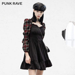 Punk Rave Femmes Grunge Plaid Sleeve Splicing Falbala Hem Robes
