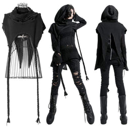 Punk Rave Frauen Grunge Ripped Hooded Capes