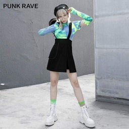 Punk Rave Women's Grunge Slit A-line Suspender Skirts