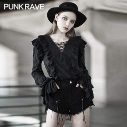 Punk Rave Women's Grunge V-neck Drawstring Long Sleeved Shirts