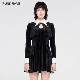 Punk Rave Women's Grunge White Collar Fake Two Piece Dresses