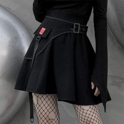 Punk Rave Women's Grunge Winter A-line Skirts With Girdles