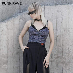 Punk Rave Women's Grunge Zebra-stripe V-neck Slip Tops