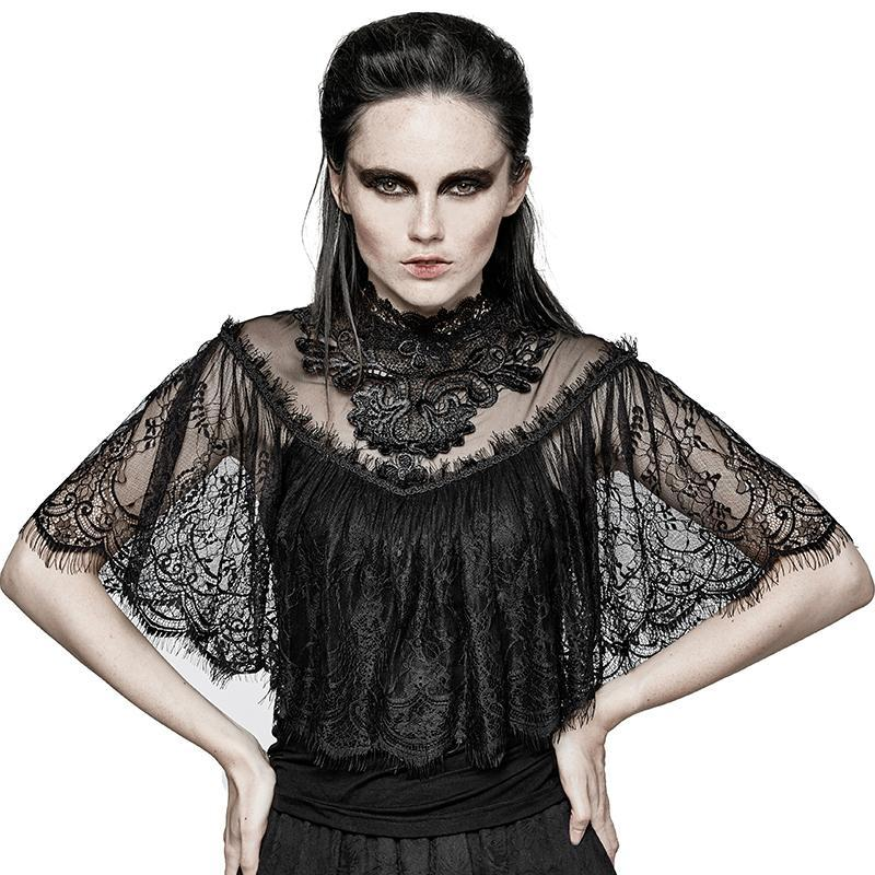 Hallowmas Gorgeous Floral Sleeve Lace Tops-Punk Design pour femmes