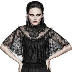 Women's Hallowmas Gorgeous Floral Sleeves Lace Tops-Punk Design