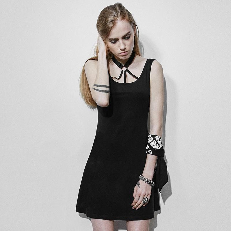 Women's Halterneck Backless Party Dress Black-Punk Design