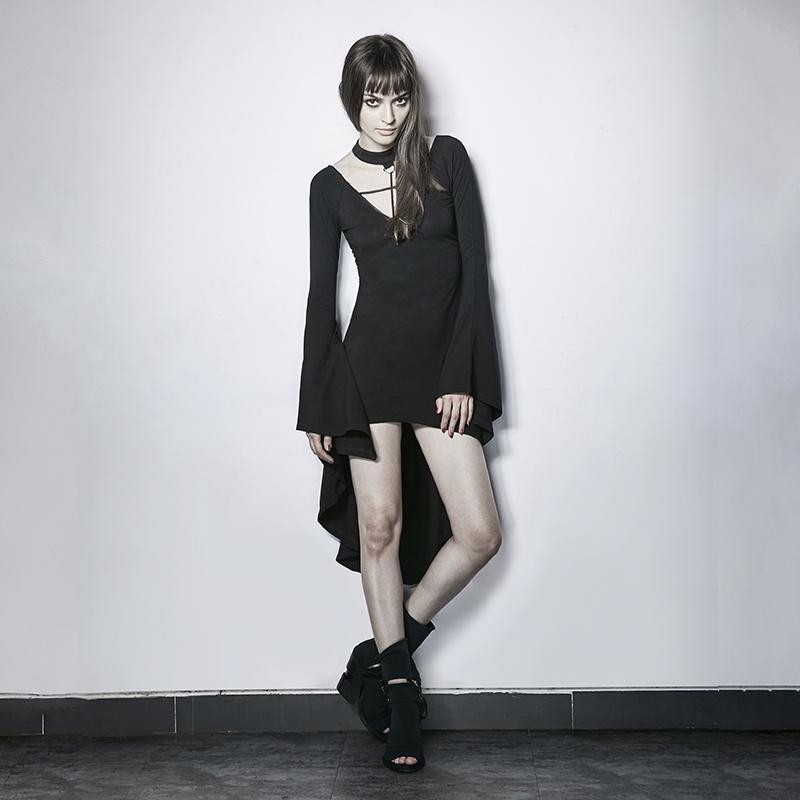 Women's Halterneck Cross High/Low Flare Sleeve Party Dress-Punk Design