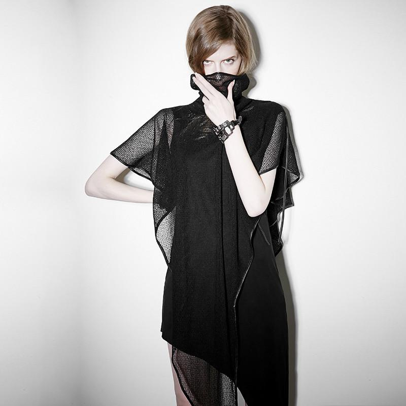 Women's High Collar Asymmetrical Hem Casual Mesh Dress-Punk Design