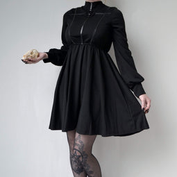 PUNK RAVE Women's High Collar Goth Dress