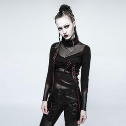 Women's High Collar Mesh Sheer Straps Tops Red-Punk Design
