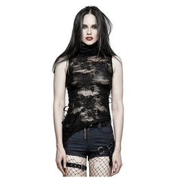 PUNK RAVE Women's High Collar Torn Floral Lace Tank Tops