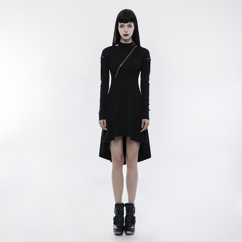 Women's High/low Inclined Zipper Slim Fitted Dress-Punk Design