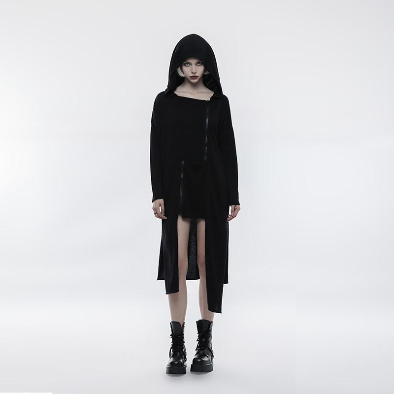 Women's High/low Zipper Deco Witch Loose Hooded Long Jacket-Punk Design