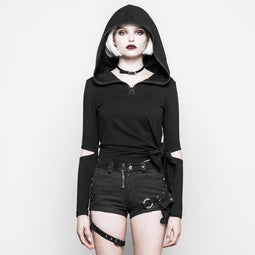 PUNK RAVE Women's Hooded Asymmetric Goth Top