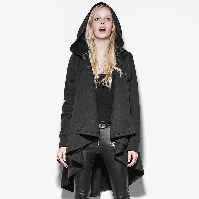 Women's Irregular Clock Style Long Hooded Jacket-Punk Design