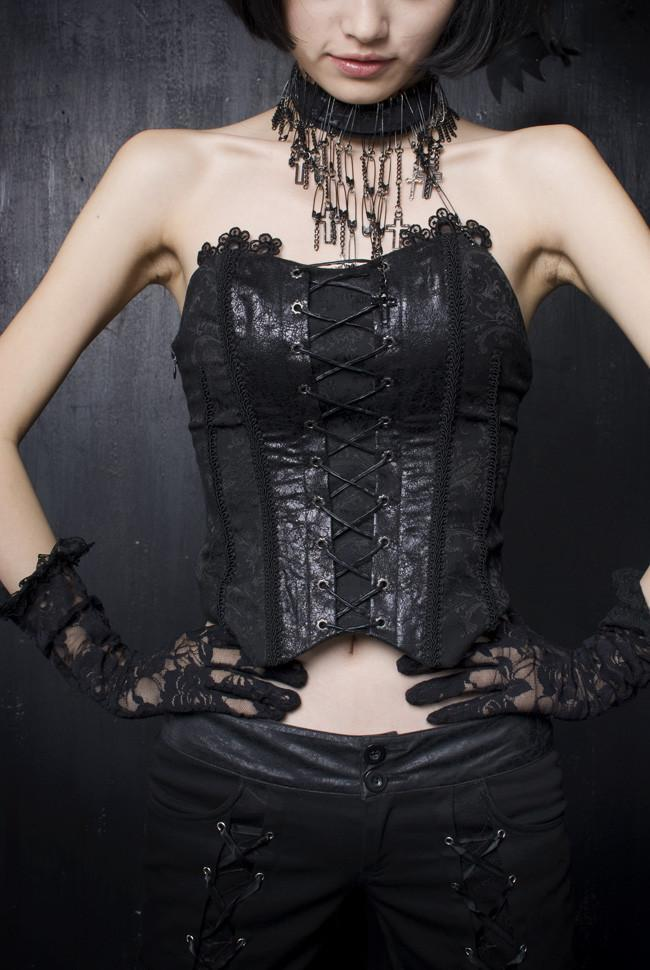 Women's Jacquard Lace-up Overbust Corsets-Punk Design