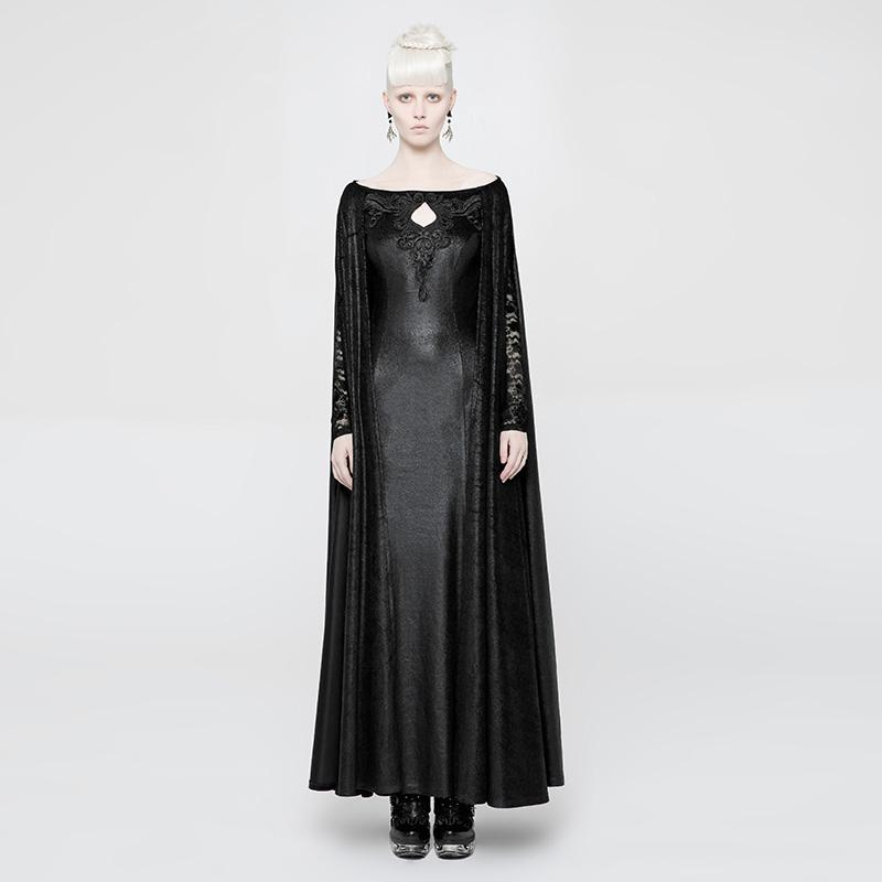 Women's Lace and Leather Goth Long Dress-Punk Design