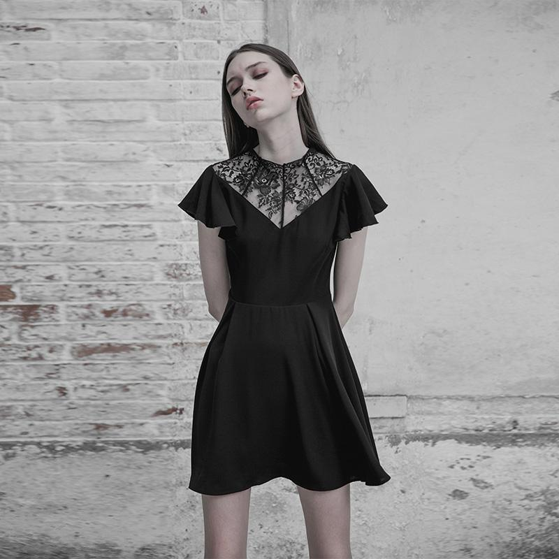 Women's Lace Inset Punk Dress-Punk Design