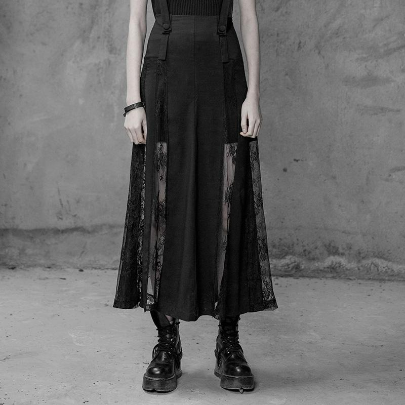 Women's Lace Paneled Punk Skirt-Punk Design