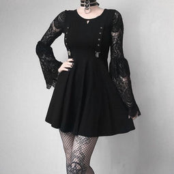 Women's Lace Sleeve Punk Dress-Punk Design