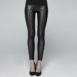 Leggings en similicuir gothique pour femmes Goth Devil Footprint - design punk