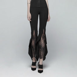 Pantalon Femme Goth Floral Lace Bell-Bottoms-Punk