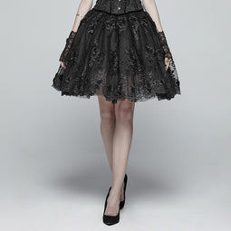 Women's Lolia Floral Lace Multilayered Bubble Skirt-Punk Design
