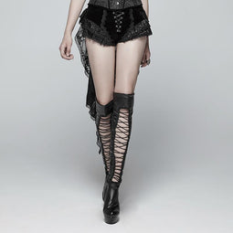 Women's Lolia Lace-up Lace Hem Velvet Shorts With Long Ruffles-Punk Design