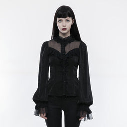 Women's Lolita Bubble Bell Sleeves Lace-up Slim Fitted Shirt-Punk Design