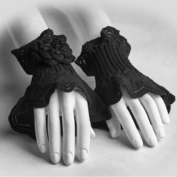 Women's Lolita Flower Crocheted Arm Warmer Gloves-Punk Design