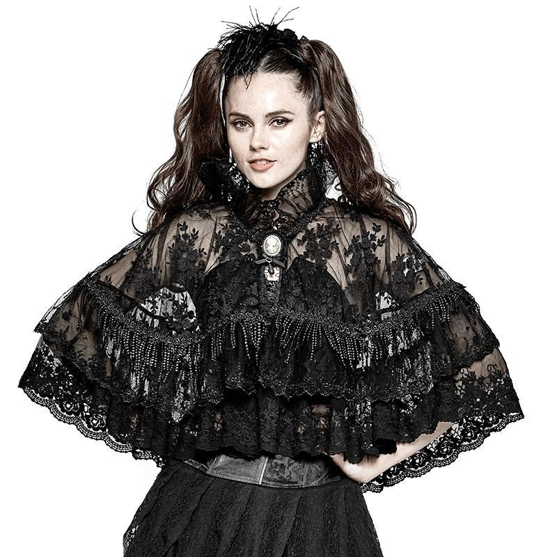 Women's Lolita High Collar Floral Lace Princessin Bolero Cloak-Punk Design