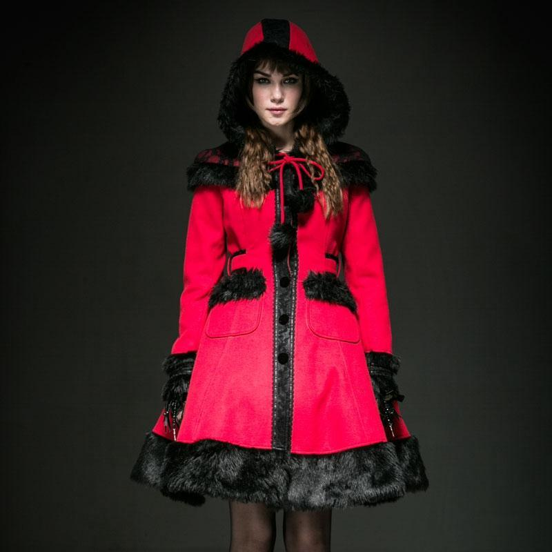 Women's Lolita Hooded Bowknot Overcoat-Punk Design