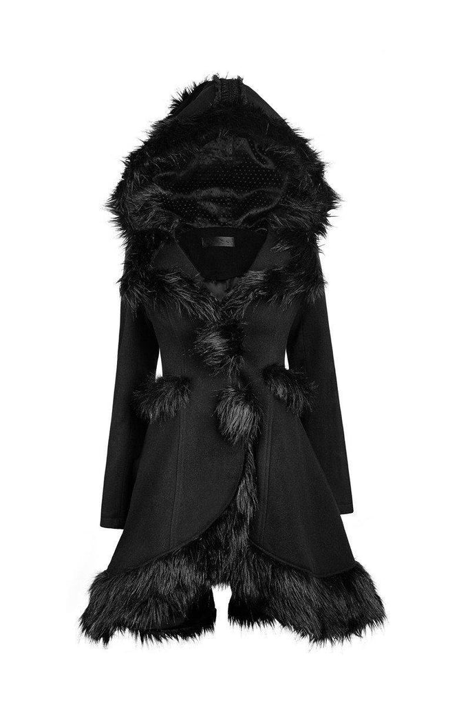 Women's Lolita Hooded Woolen Overcoat-Punk Design