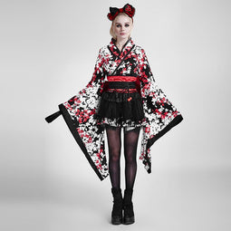 Women's Lolita Japenese Three-Piece Kimono With Ribbon Belt-Punk Design