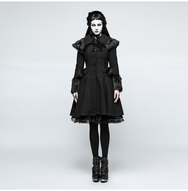 Women's Lolita Pockets Woolen Overcoat-Punk Design