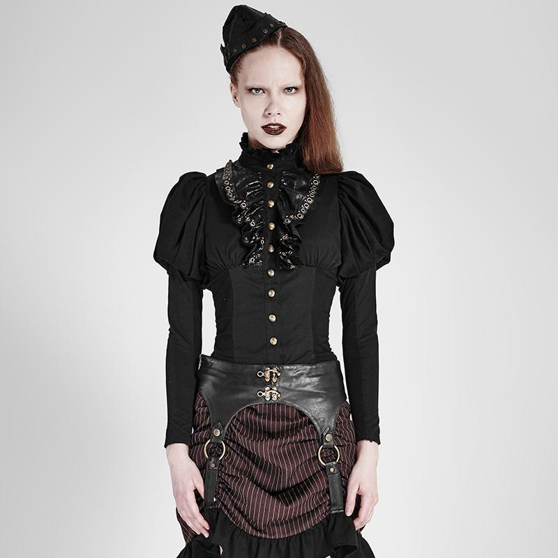 Women's Lolita Puff Sleeve Ruffles High Neck Tops-Punk Design