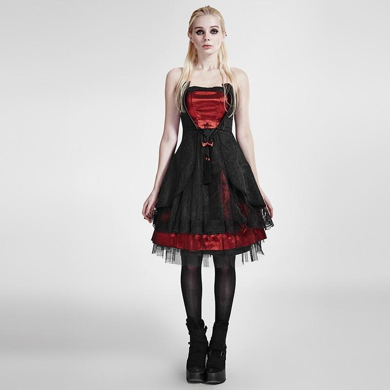 Women's Lolita Strapless Evening Dress Costume Sling Corset Dress-Punk Design