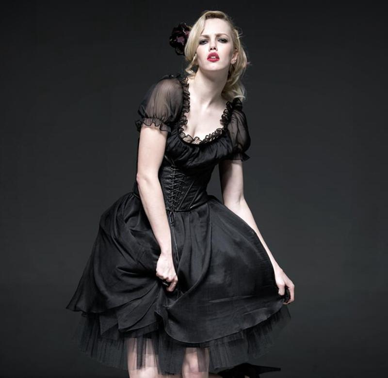 Women's Lolita Two-piece Backless Prom Dress with underbust Corsets-Punk Design