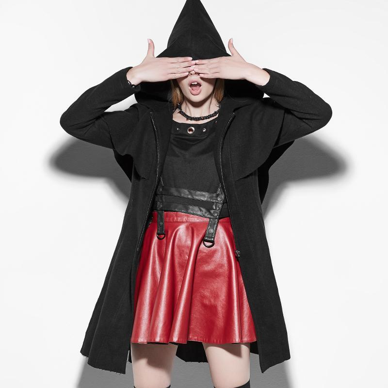 Women's Lolita Zipper Hooded Witch Cloak Coats Black-Punk Design