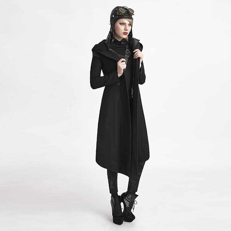 Women's Long Woolen Hooded Anorak Coat Outcast Coat-Punk Design
