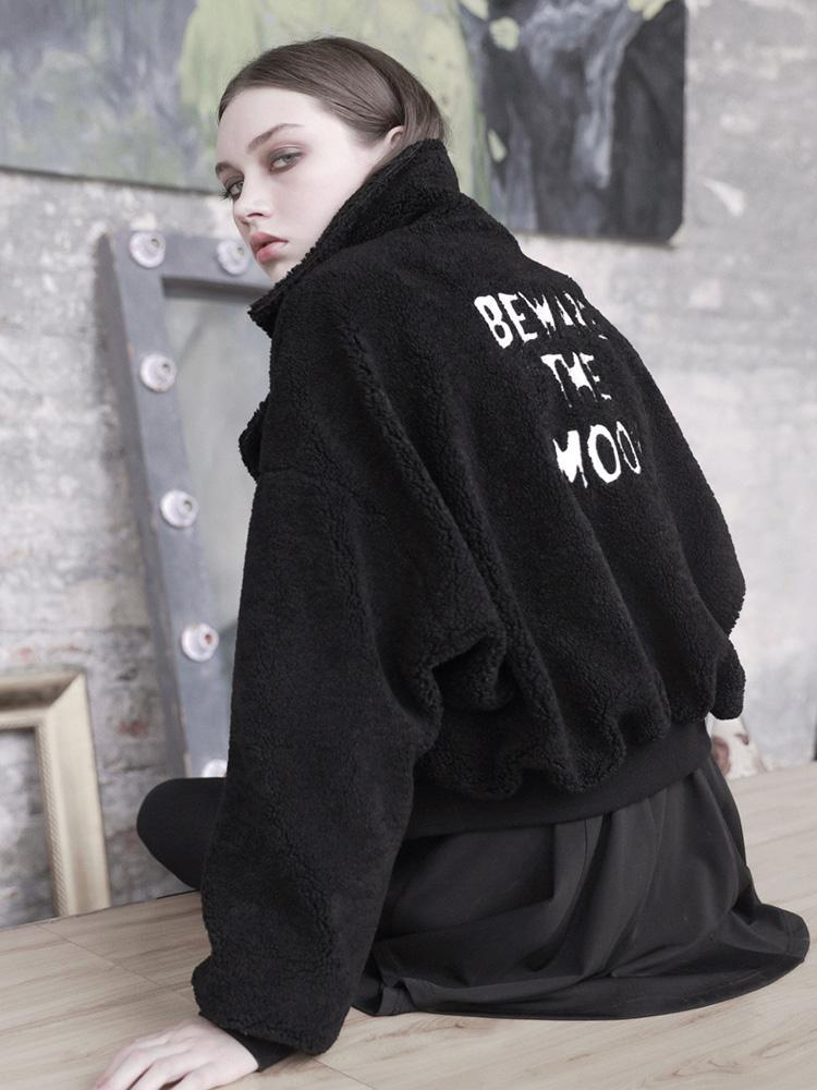 Women's Loose Back Embroideried Hooded Cardigan-Punk Design