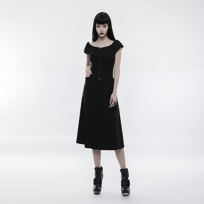Women's Micro Elastic Lotus Leaf Collar Off the Shoulder Slim Fitted Dress-Punk Design