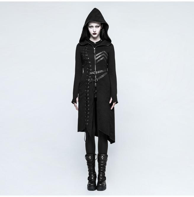 Women's Military Hooded Asymmetric Knitted Coat With Belt-Punk Design